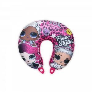 LOL Baba utazópárna kislányoknak – nyakpárna – LOL Surprise Free Styling felirattal – pink
