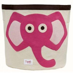 Játéktároló, rózsaszín elefánt | 3 Sprouts
